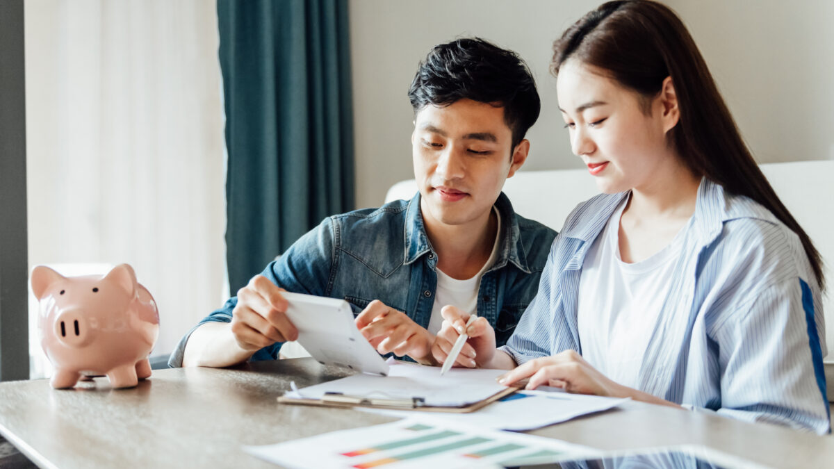 Young couple making a financial plan