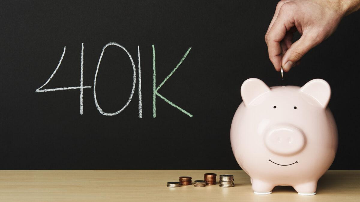 Piggybank with 401k written on a blackboard - Prudent Financial Solutions